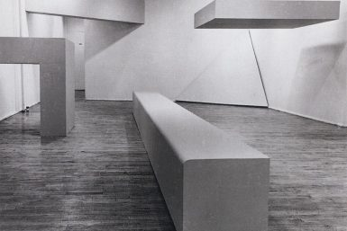 Figure 1. Robert Morris, Exhibition at the Dwan Gallery.  Installation View, 1966.